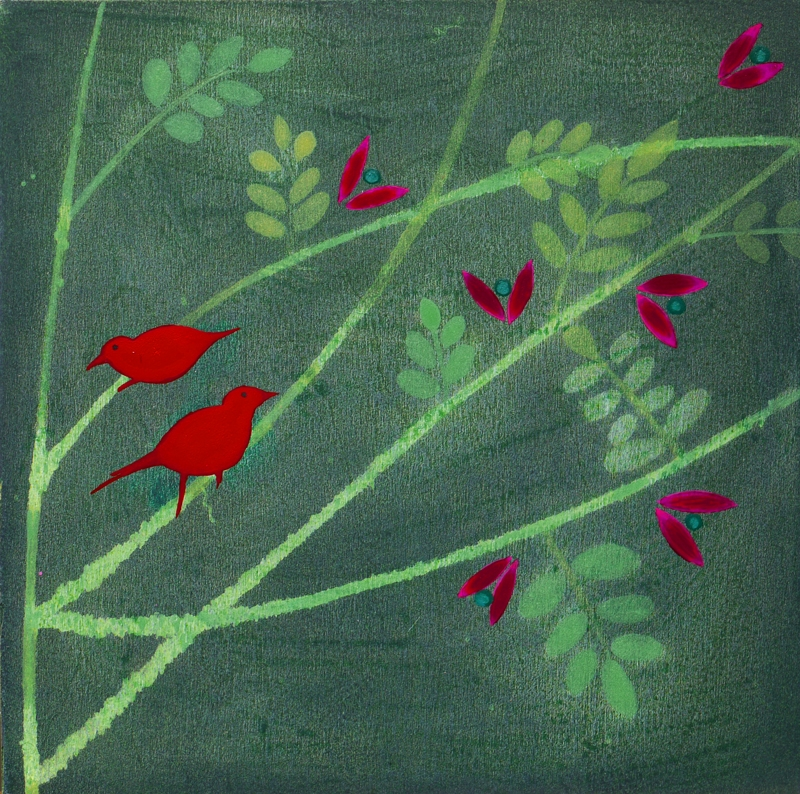 Acacia - Red Birds and Pink Flowers